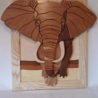 Wooden African Elephant Wall Art