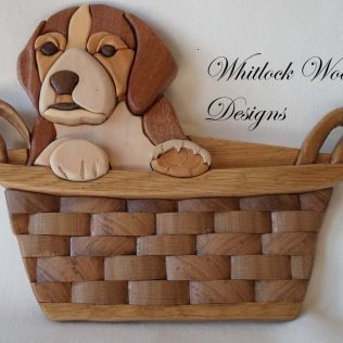 Puppy In Basket Wooden Wall Art
