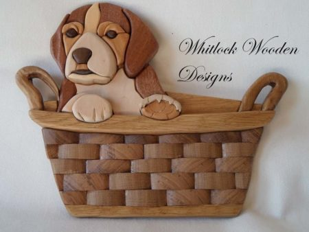 Cute Little Puppy In A Basket Wooden Wall Art
