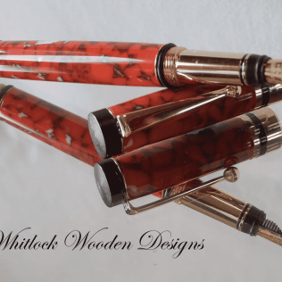 Handmade Mottled Red Fountain Pen