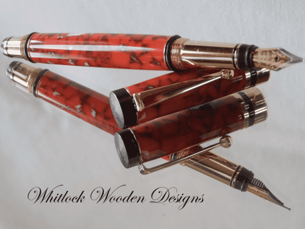 Mottled Red Fountain Pen