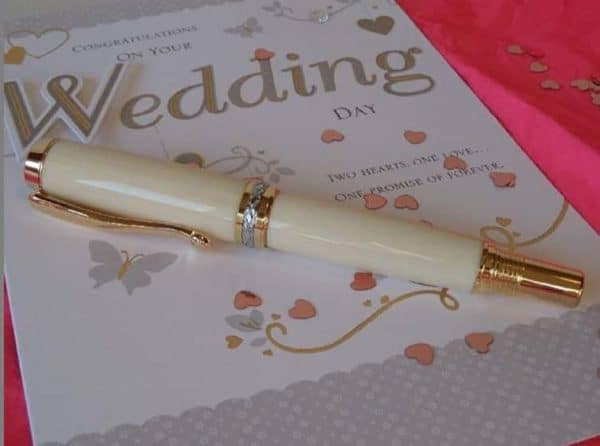 IVORY PEN WEDDING CARD