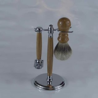 Oak Chrome Mens Shaving Set