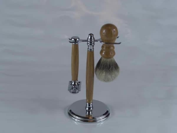 Oak Chrome Shaving Brush Set