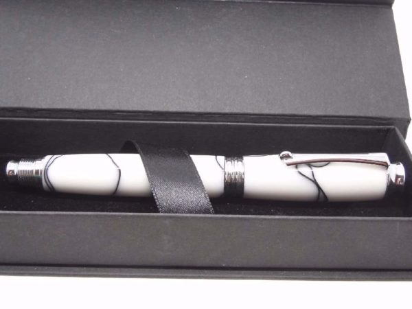 White Black Rollerball Pen With Gift Box
