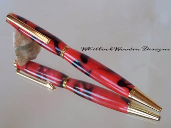 A Handmade Red and Black Slimline Pen