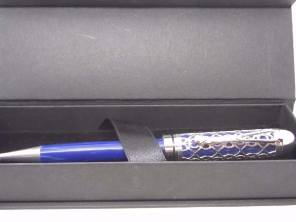 Blue Lattice Handmade Pen With Presentation Box