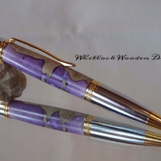 Wood Burr & Violet Ball Point Pen