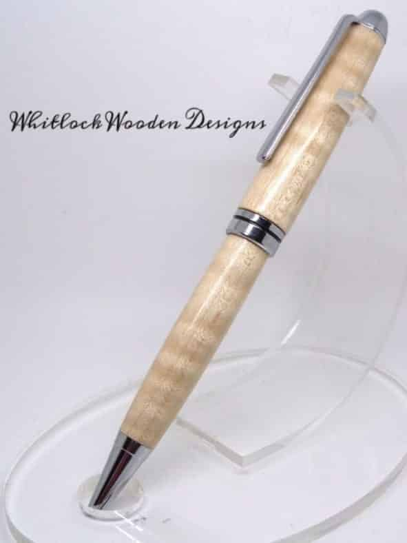 Curly Maple European Wood Pen On Stand