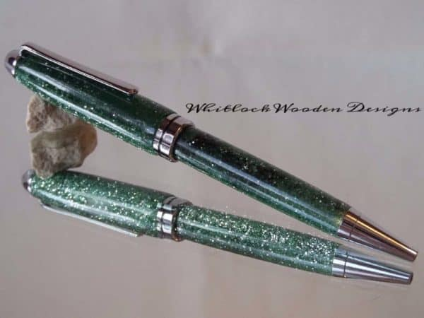 European Unique Handmade Pen With Green and Silver Glitter