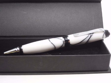 Handmade Acrylic White & Black Pen