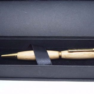 Oak Slimline Pen With Gold Trim