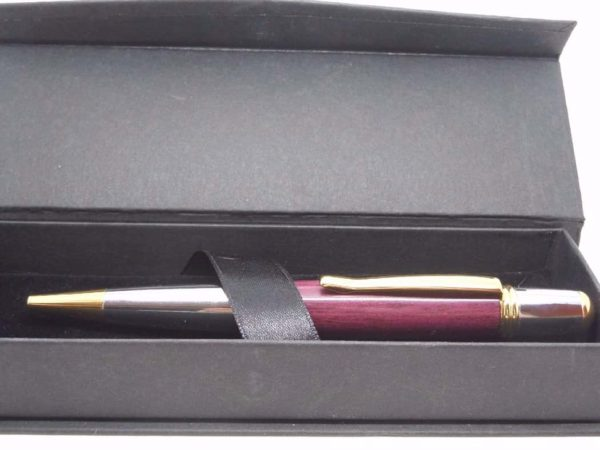 Sierra Gold Chrome Hand Made Pen With Purpleheart And Gift Box
