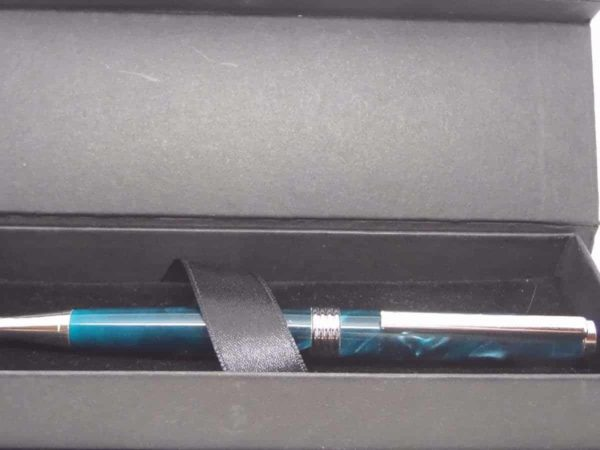 A Chrome Turquoise Hand Made Pen And Presentation Box