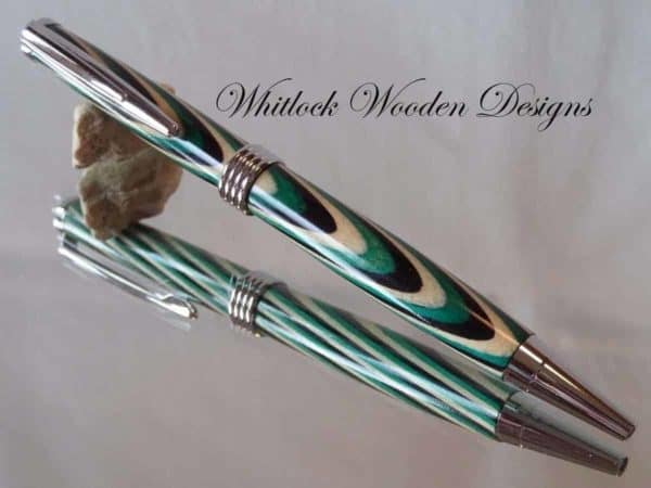 A Green Black and White Chrome Streamline Pen