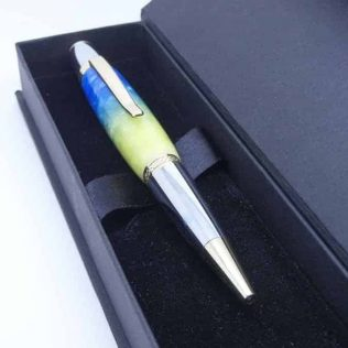 Striking Blue And Green Ballpoint Pen With Chrome