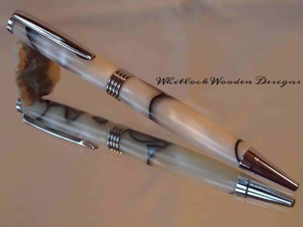 Handmade White Blue and Black Ball Pen2