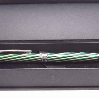 Handmade Wooden Striped Green Pen