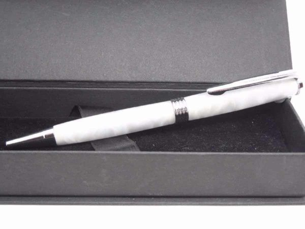 Pearl White Chrome Handmade Ball Pen With Presentation Box