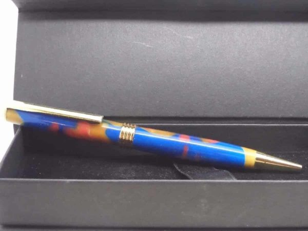 Royal Blue and Gold Handmade Ball Pen With Presentation Box
