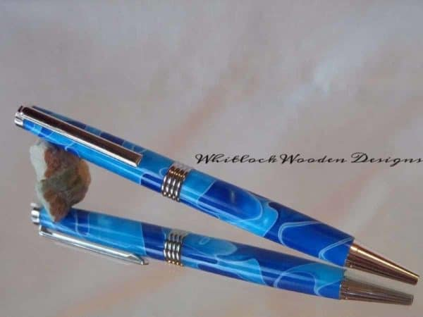 Royal and Sky Blue with Chrome Ballpoint Streamline Pen