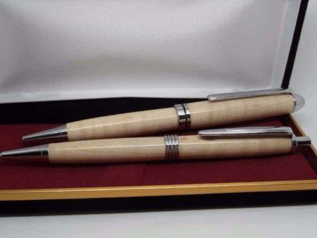Curly Maple Chrome Pen Pencil Set