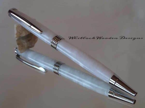 White with Chrome Streamline Ballpoint Pen