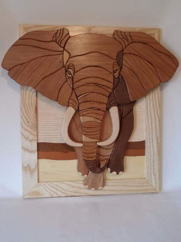 Wooden Intarsia African Elephant Wall Art Home Decore
