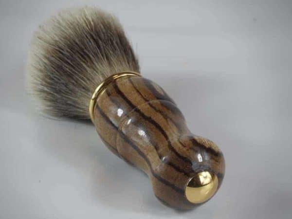 Badger Hair Brush With Zebrano Gold Trim