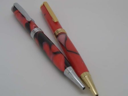 Two Handmade Red Ballpoint Pens