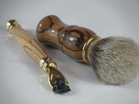 Zebrano Mach 3 Razor Handle Badger Tip Shaving Brush