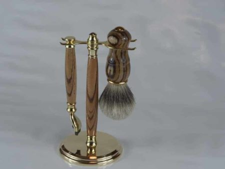 Zebrano Shaving Set Mens
