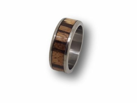 Titanium Ring With Zebrano Wood