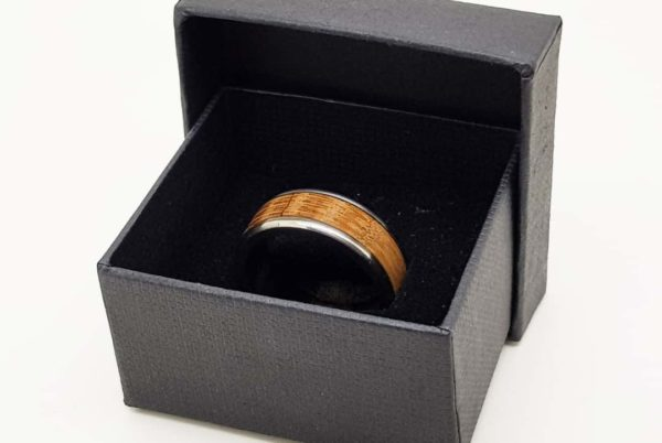 Whiskey Barrel Wood Ring With Gift Box