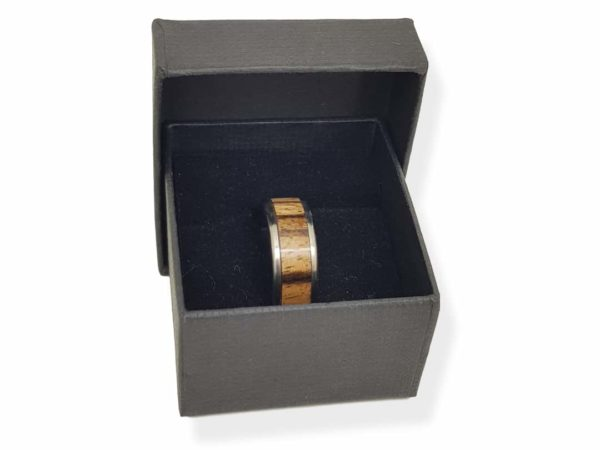 Zebrano And Titanium Ring With Box