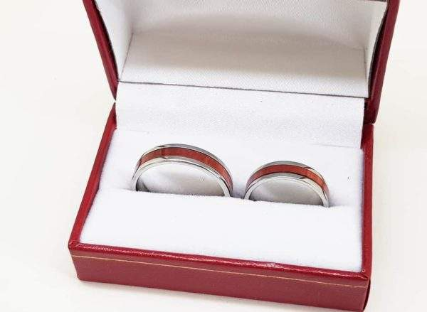 Pink Ivory Anniversary Rings With Box