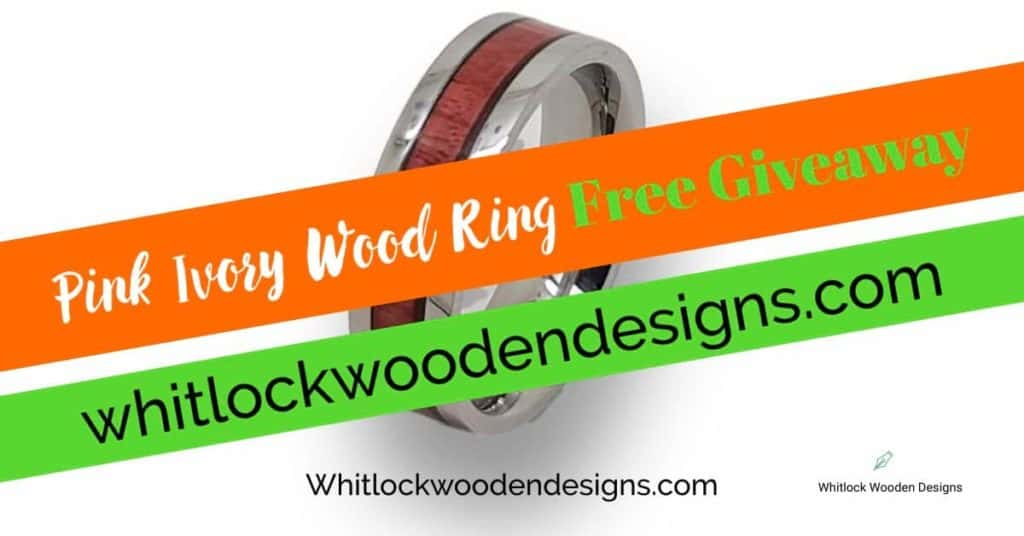 Pink Ivory Wood Ring Free Giveaway