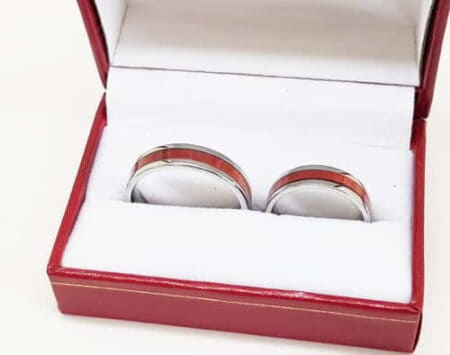 Pink ivory stainless steel rings