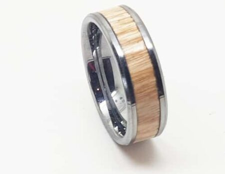 Stainless Steel Ash Wood Ring