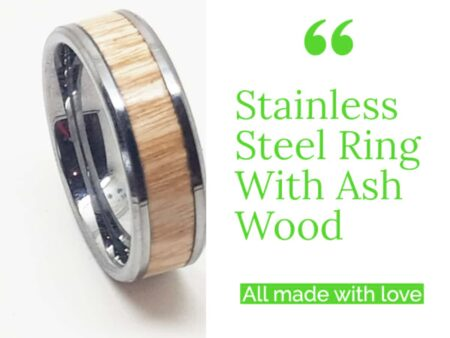 Stainless Steel Ring With Ash Wood