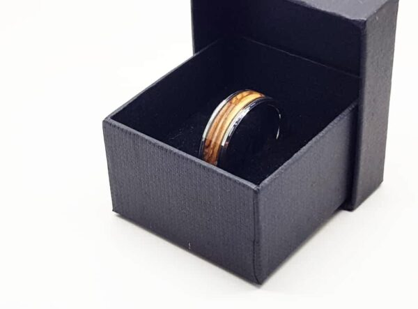 olive wood tungsten ring with box