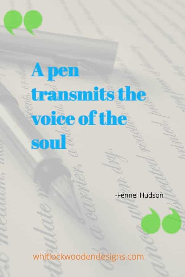 A pen transmits the voice of the soul