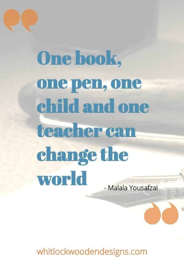 One book, one pen, one child and one teacher can change the world
